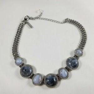 WHBM Gray Stone Rhinestone Choker Necklace